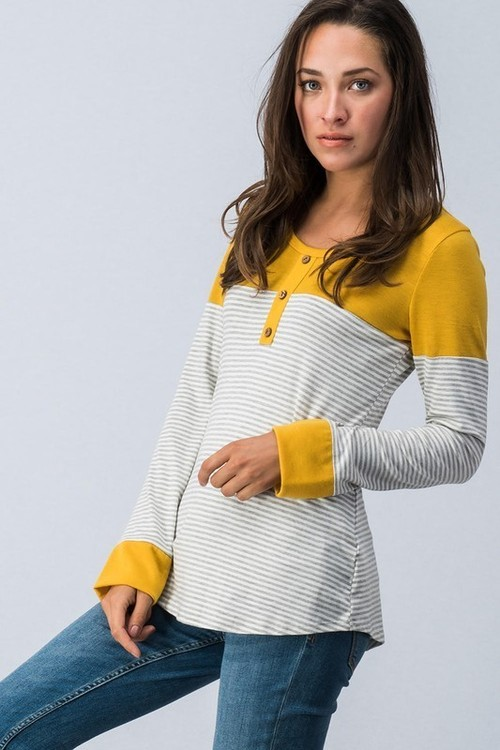 Mustard Color Block Button Front