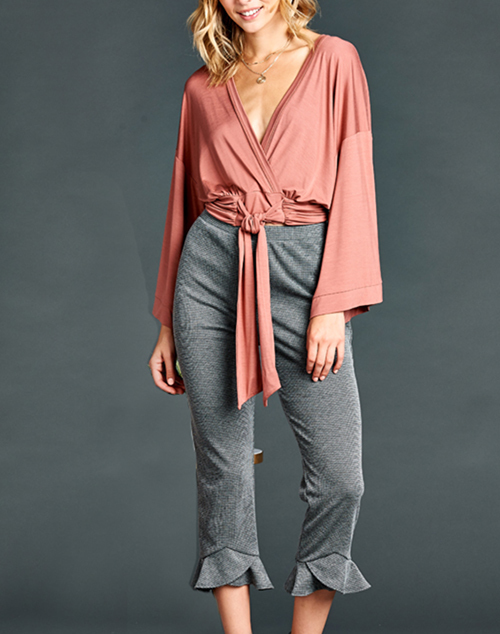 Long Sleeve Rouched Tie Top