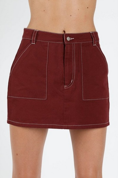 High Waisted Mini Skirt with Contrast Stitching