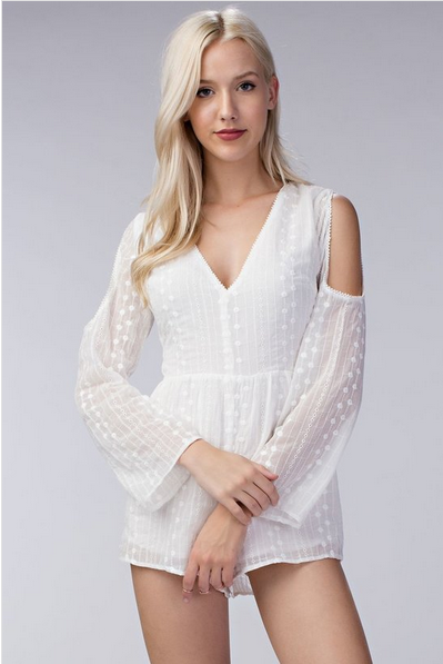V-Neck Long Sleeve Cold Shoulder Romper