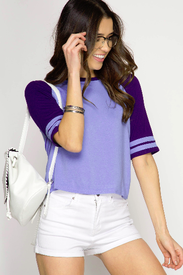 Cropped Game Day Short Sleeve Top