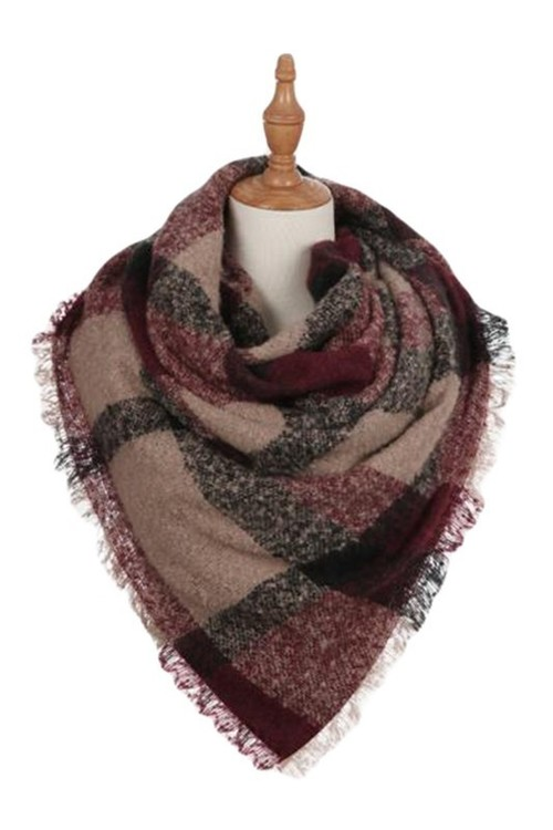 Burgundy Plaid Frayed Square Scarf