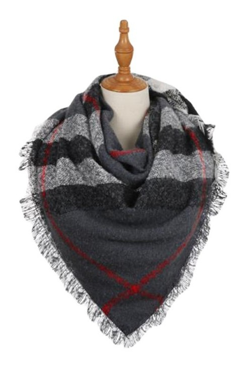 Grey Plaid Frayed Square Scarf