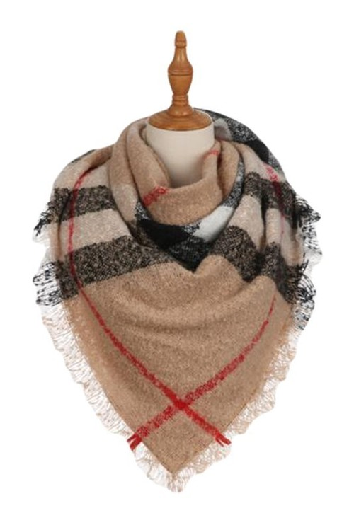 Tan Plaid Frayed Square Scarf