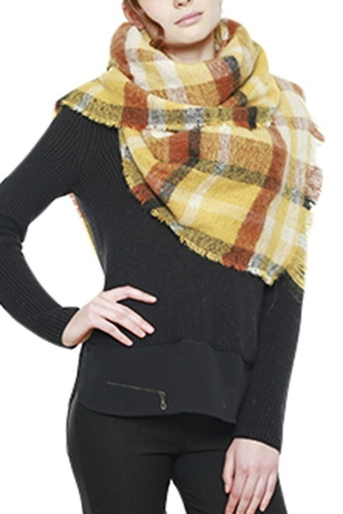 Mustard Bold Plaid Frayed Hem Scarf