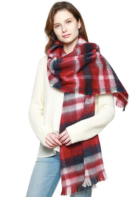 Burgundy Bold Plaid Frayed Hem Scarf