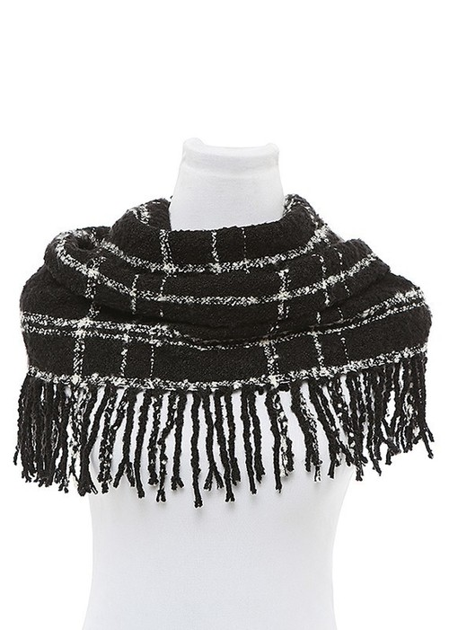 Black Plaid Fringed Infinity Scarf