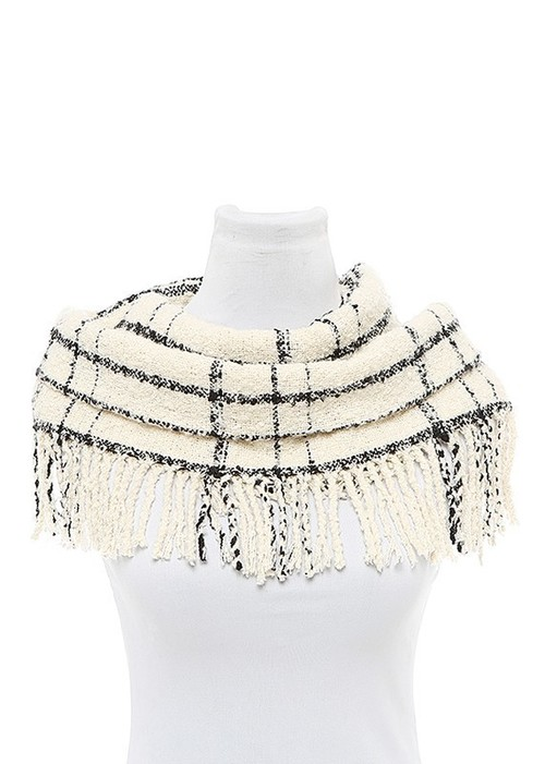 White Plaid Fringed Infinity Scarf
