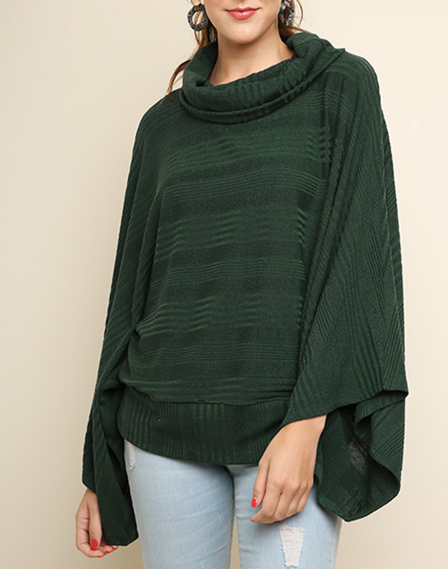 Wide Dolman Sleeve Cowl Neck Top