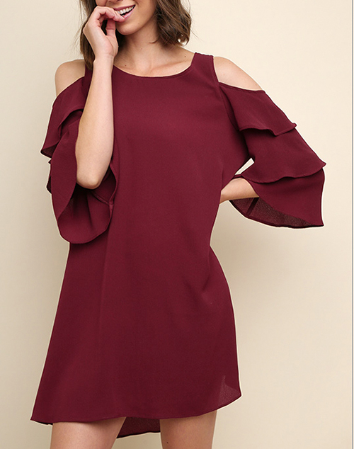 Layered Ruffle Sleeve Open Shoulder Dress
