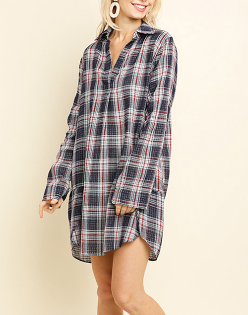 Plaid Long Sleeve V-Neck Dress