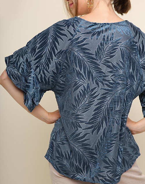 Velvet Print Lace Top With Ruffle Sleeves