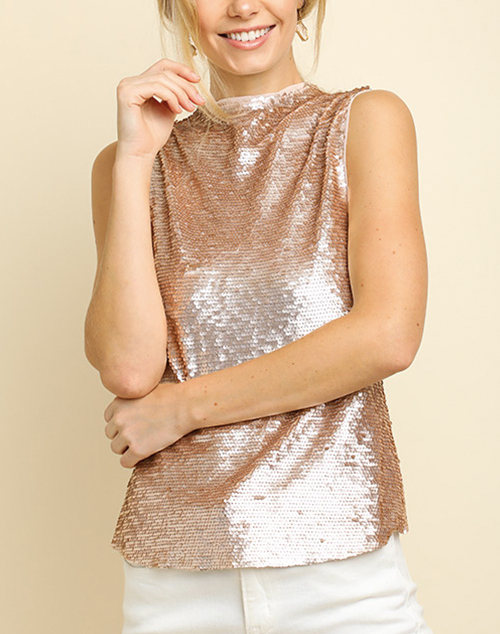 Sleeveless Sequin High Neck Keyhole Top
