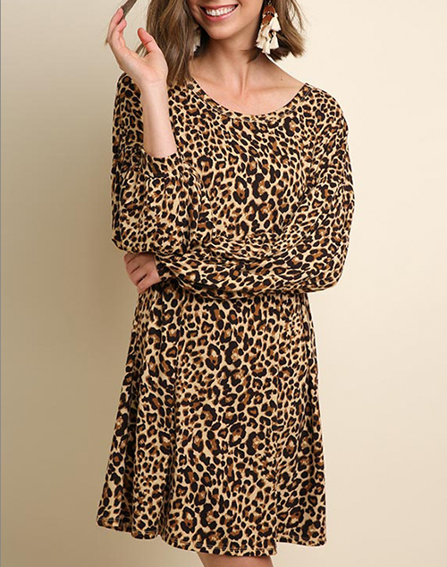Cheetah Print Long Puff Sleeve Dress
