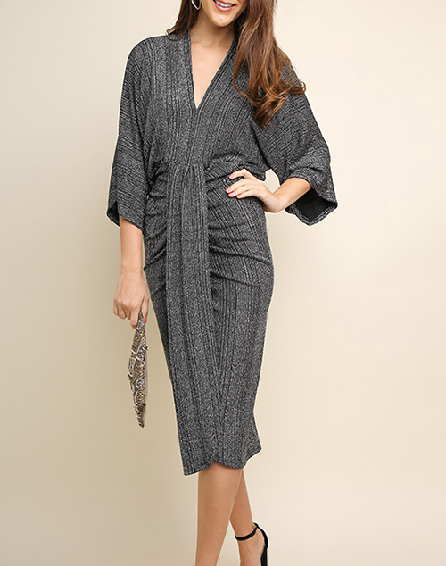 Lurex V-Neck kimono Sleeve Midi Dress