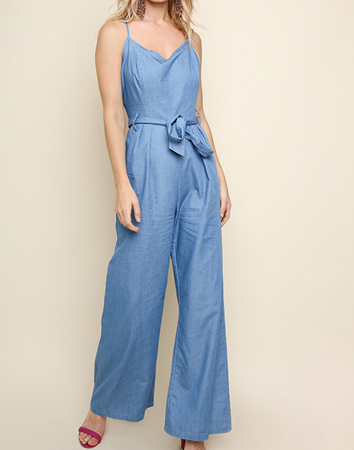 Denim Thin Strap V-Neck Wide Leg Jumpsuit