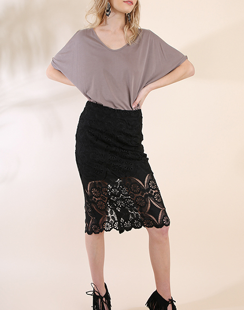 High Waisted Lace Midi Pencil Skirt