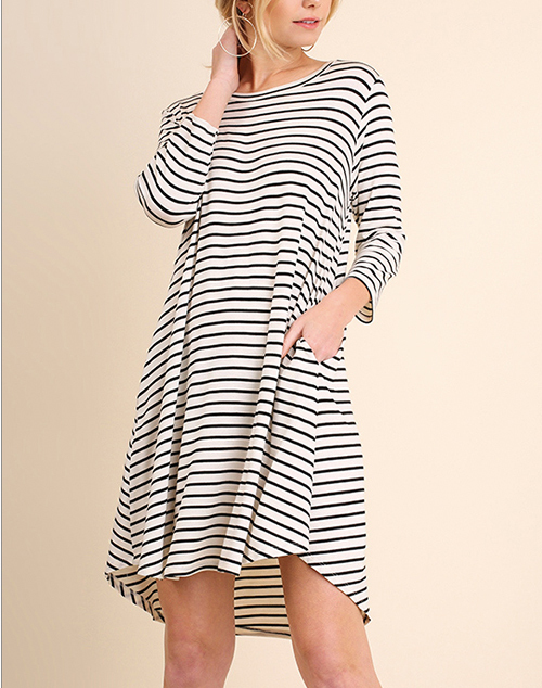 Striped 3/4 Sleeve Pocket Tee Dress