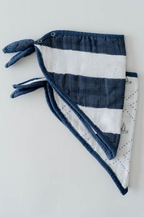 Cotton Muslin Bandana Bib Set- Anchors Aweight