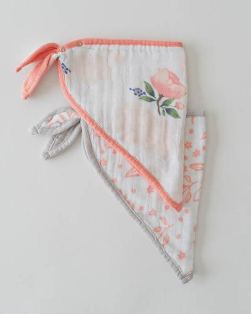 Cotton Muslin Bandana Bib Set- Watercolor Roses