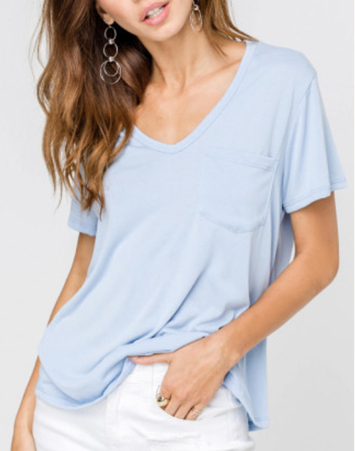V Neck Side Pocket Light Knit T-Shirt