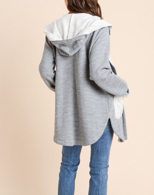 Hooded Knit Jacket With Pockets