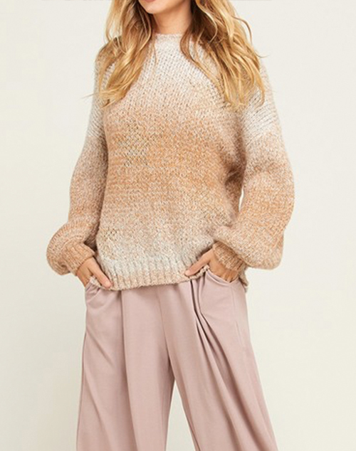 Long Sleeve Ombre Metallic Star Sweater