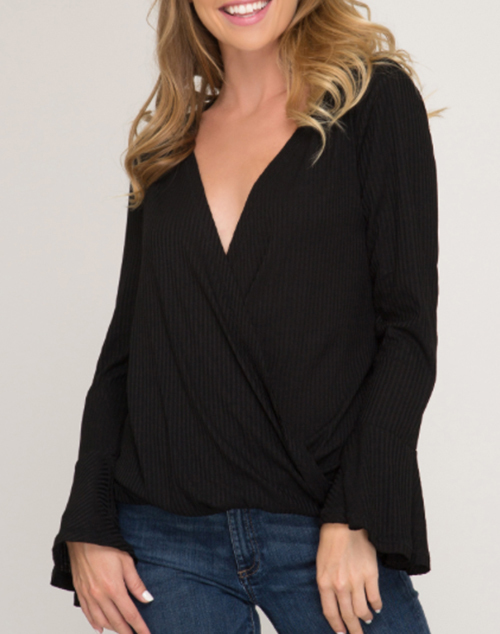 Long Bell Sleeve Rib Knit Wrap Top