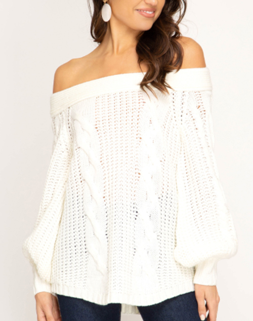 Long Sleeve Off The Shoulder Knit Sweater