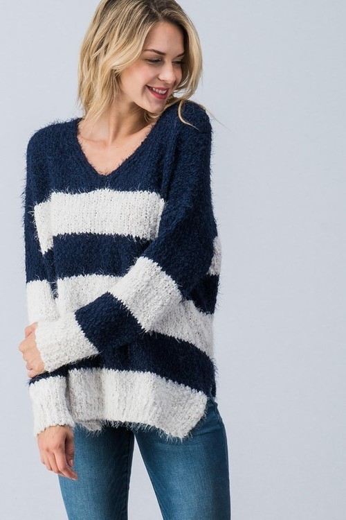 Fuzzy Navy Striped Oversized Sweater