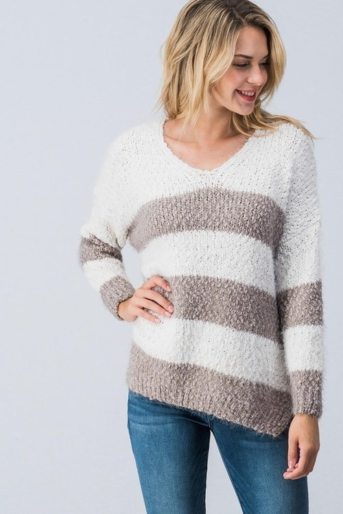 Fuzzy Mocha Oversized Striped Sweater