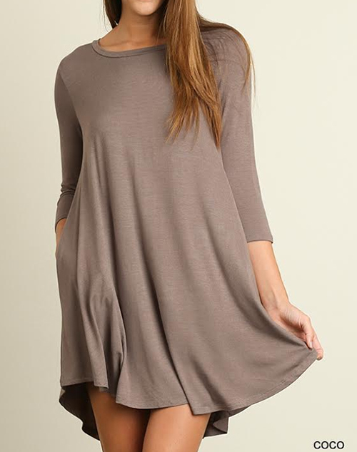 Scoop Neck T-Shirt Dress Scalloped Hemline