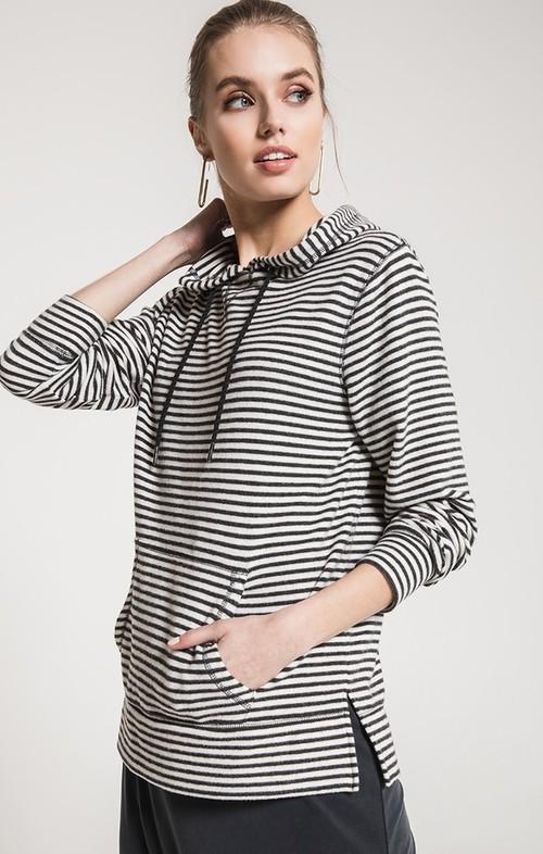 Pearl & Dark Grey Stripe Soft Spun Hoodie
