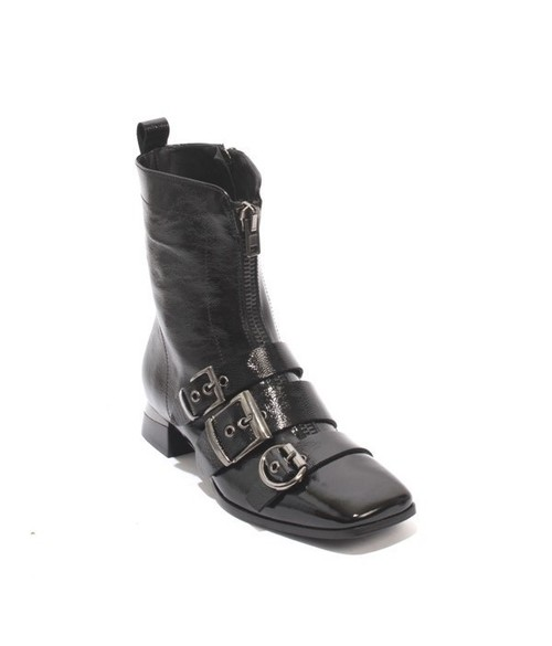 Black Patent Leather Buckles Zip Ankle Boots