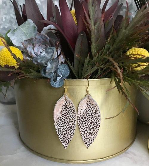 Jillian Made Copper Dust Leather Earrings