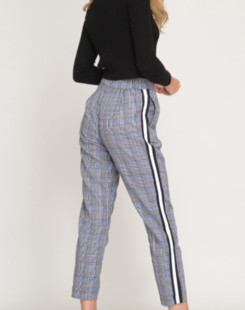 Glen Plaid Trousers With Side Stripe
