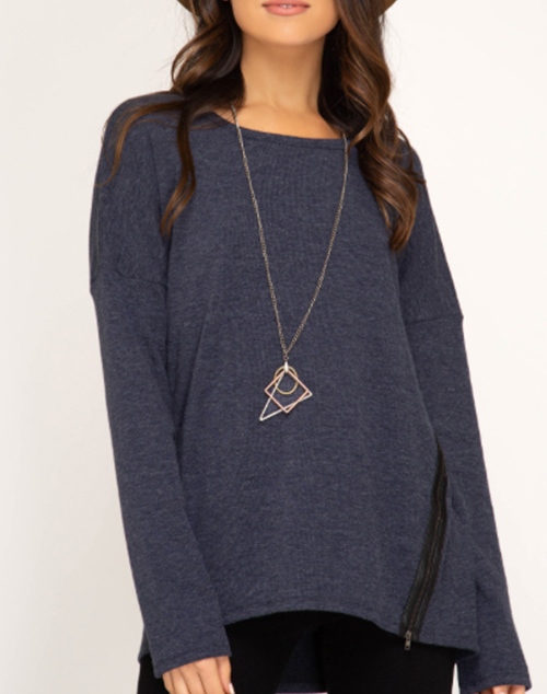 Long Sleeve Knit Top With Zipper Detail
