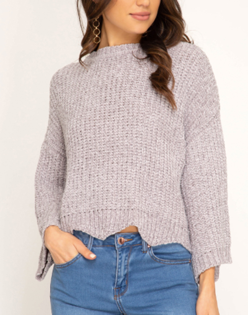 Wide 3/4 Sleeve Sweater With Scalloped Hem