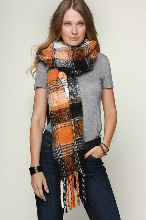 Mustard Soft Brushed Plaid Scarf