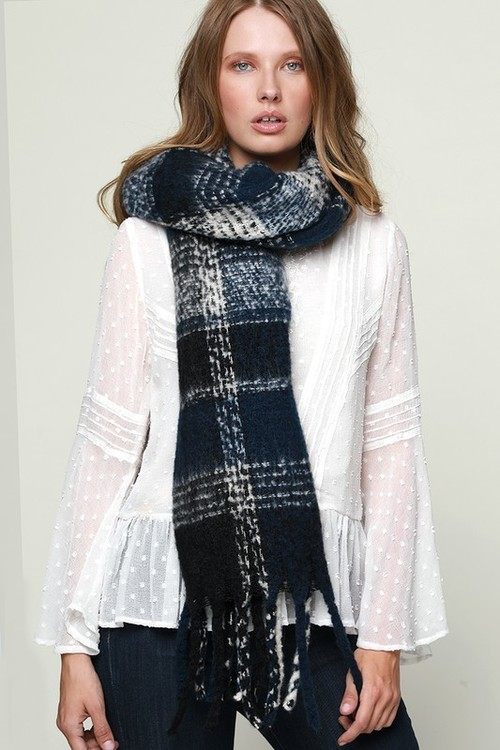 Navy Soft Brushed Plaid Scarf