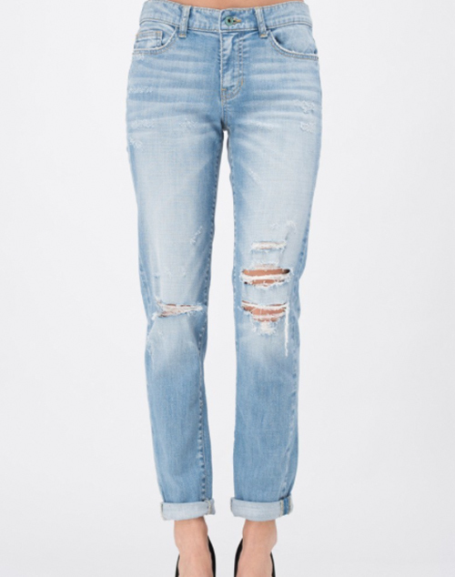 Distressed Mid Rise Boyfriend Denim