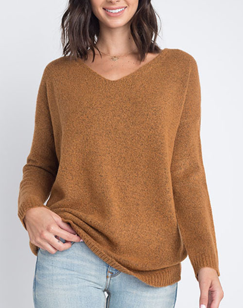 Marled Cross Back Pullover