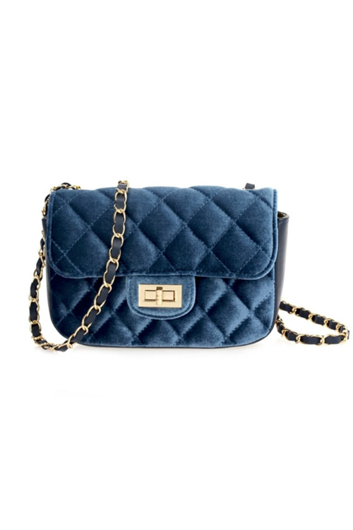 Velvet Quilted Cross Body Bag - Navy