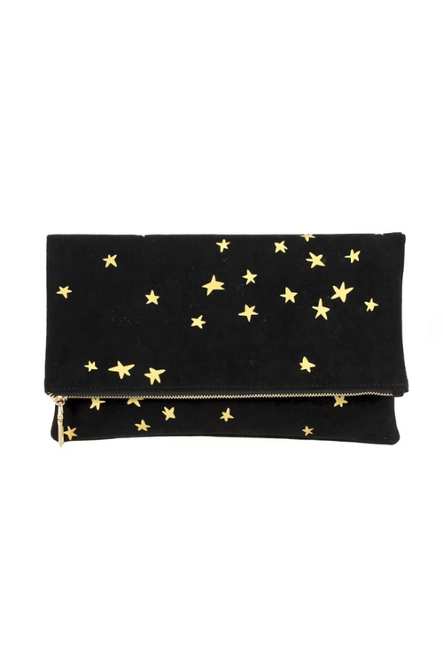 Fold Over Clutch With Stars - Black