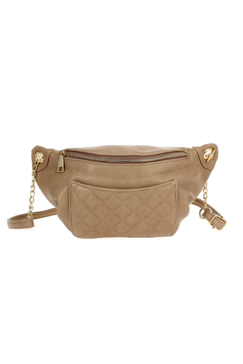 Quilted Fanny Pack With Chain - Taupe