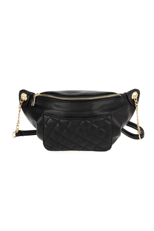Quilted Fanny Pack With Chain - Black