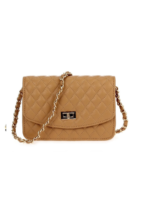 Quilted Cross Body With Turn Lock - Nude