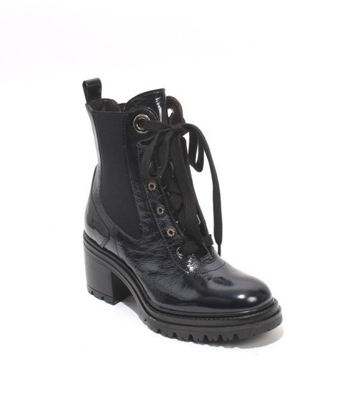 Dark Navy Patent Leather Lace-Up Ankle Boots