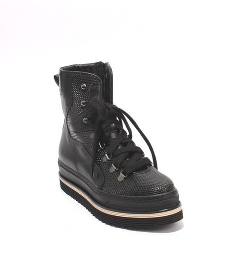 6f2ad8c5f24b Black Leather Lace-Up   Zip-Up Ankle Boots