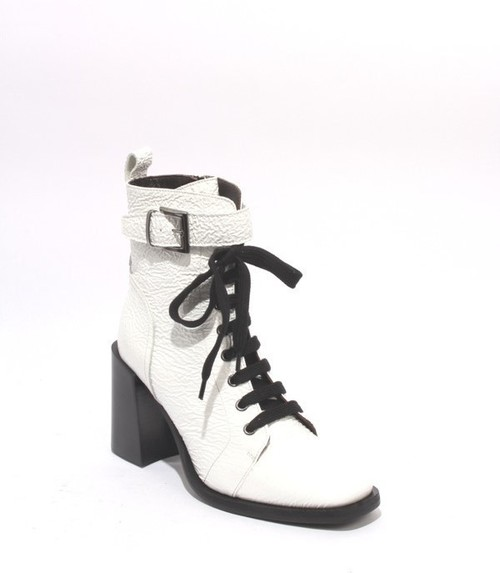 White Patent Leather Zip Lace Up Ankle Heel Boot